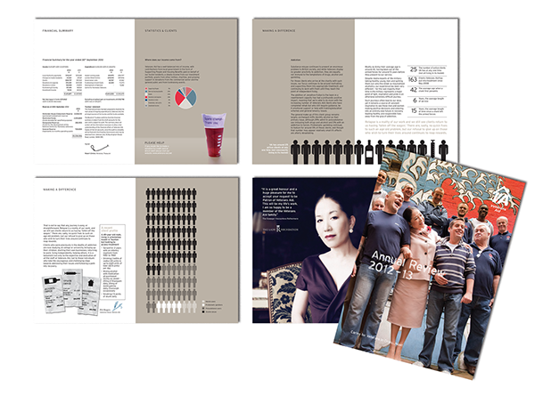 Produced for the charity sector, this report features, copy writing, graphic design and corporate photography.